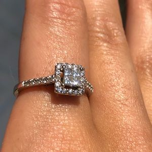 White Gold Princess Cut Diamonds W/ Crystals